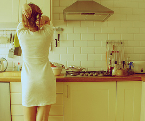 dress, kitchen, and girl image
