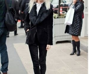 street style, black outfit, and all black image