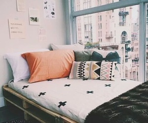 bed, pallets, and bedroom image