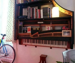 books, decor, and piano image