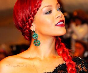 rihanna, hair, and red hair image