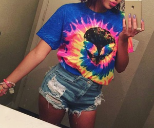colorful bracelets, tie dye t-shirt, and blue ripped shorts image
