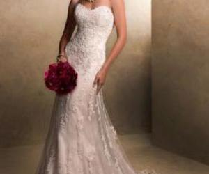 strapless, lace wedding dresses, and white wedding dresses image