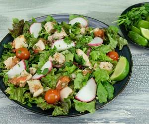 salad, chicken salad, and chicken carnitas salad image