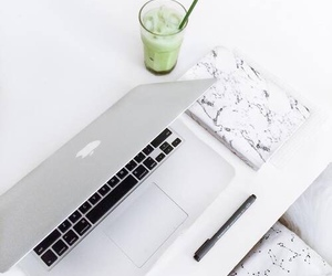 white, drink, and macbook image