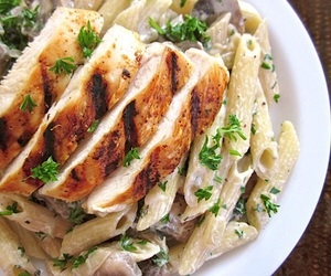 food, Chicken, and pasta image