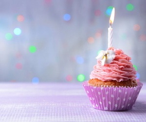 birthday, candle, and cupcake image