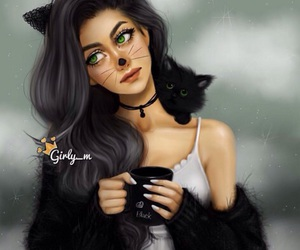 girly_m, cat, and black image