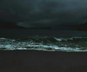 beach, dark, and ocean image