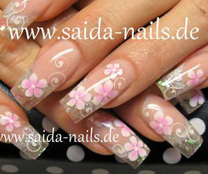 flowers, french manicure, and nailart image