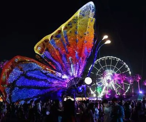 coachella, butterfly, and festival image
