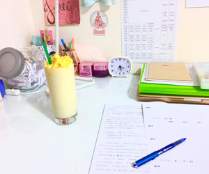 school, smoothie, and study image
