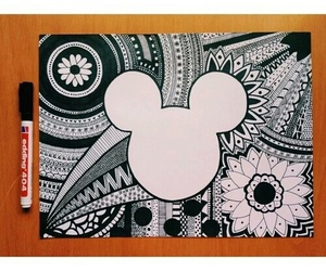 drawing, art, and mickey image