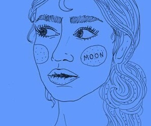 blue, moon, and girl image