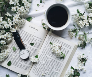 book, cherry blossoms, and coffee image