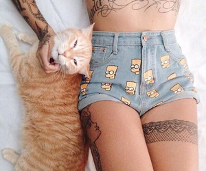 cat, tattoo, and simpsons image