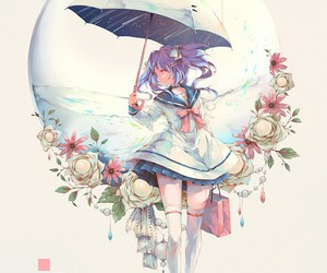 anime, anime girl, and umbrella image