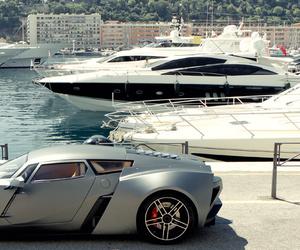 luxury, car, and yacht image