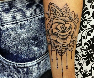 tattoo, flowers, and rose image