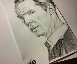 portrait, sherlock holmes, and traditional art image