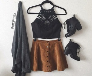 ankle boots, fashion, and skirt image