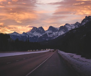 mountain, road, and sky image