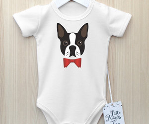 baby, baby clothes, and boston terrier image