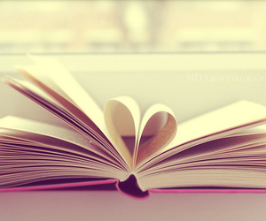 book, heart, and love image