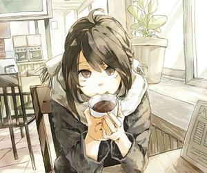 anime, girl, and coffee image