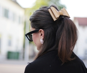 bow, sunglasses, and brunette image