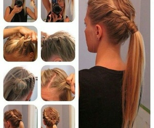 hair, trenza, and love image