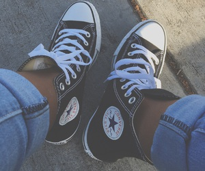 classic, converse, and rolled up jeans image