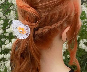 dress, flowers, and hairstyle image