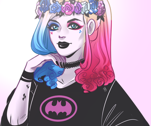 harley quinn, batman, and suicide squad image