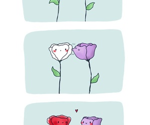 love, flowers, and kiss image