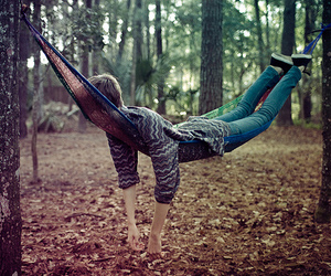 boy, forest, and hammock image