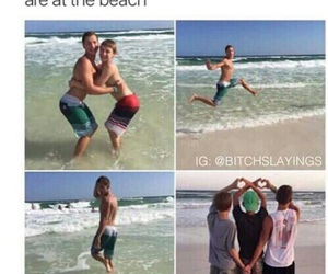 funny, beach, and boy image