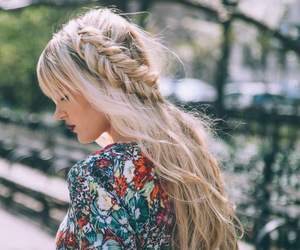 blonde, braid, and dress image