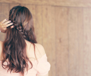 back, braid, and brunette image