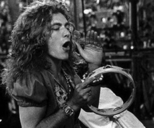 robert plant, led zeppelin, and black and white image