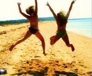 beach, jump, and summer image