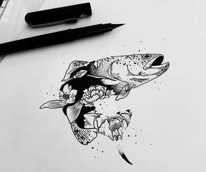 draw, fish, and flowers image