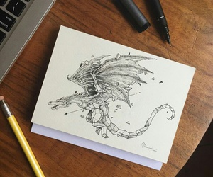 dragon, drawing, and tattoo image
