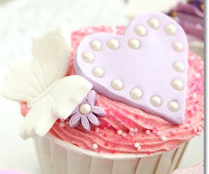 butterfly, heart, and cupcakes image