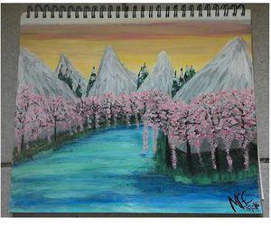 artist, mountains, and lake image