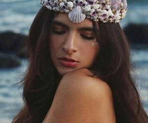 mermaid, crown, and sea image