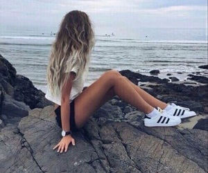 girl, adidas, and beach image