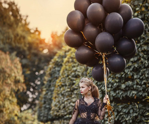 black, dress, and balloons image