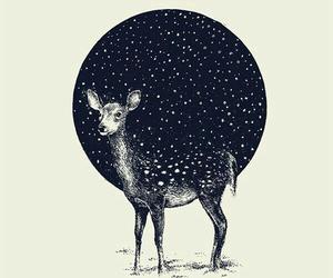 art, deer, and stars image