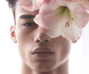 boy, flowers, and model image